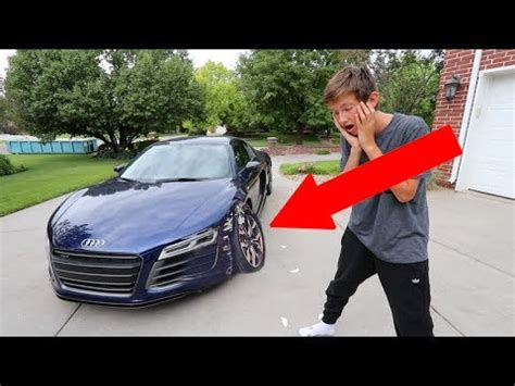audi r8 tanner insane kid crashes dad s audi r8 on fathers day youtube
