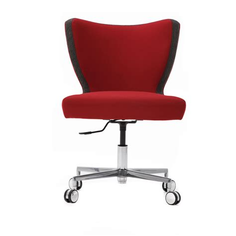 upright armless desk chair with cruciform base