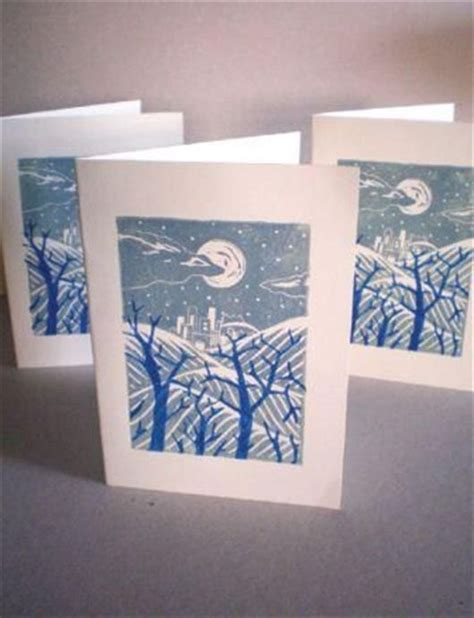 Lino Cut Cards by Tutorial Print Your Own Seasonal Greetings Cards Using