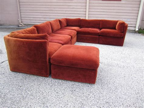 curved seven signed milo baughman sectional sofa