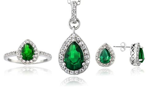 lab created green emerald gemstone jewelry in sterling