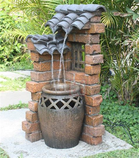 rustic water fountains for landscaping eaved clay pots