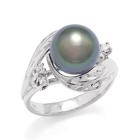 tahitian black pearl ring with diamonds in 14k white gold