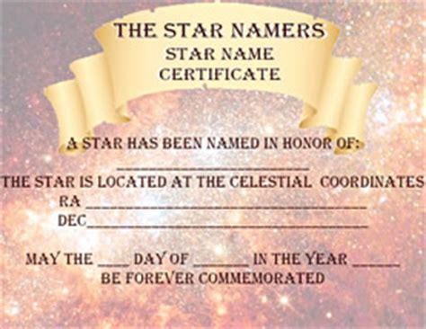 the star namer s free star naming certificate