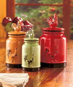 Country Kitchen Canisters by Set Of 3 Rooster Canisters Country Kitchen Accent Home