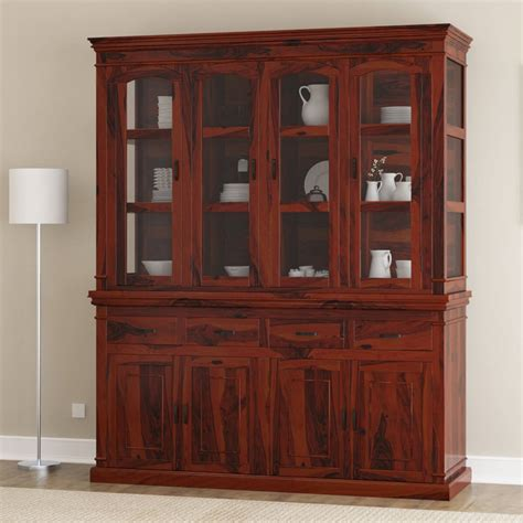 clermont rustic solid wood glass door dining room hutch