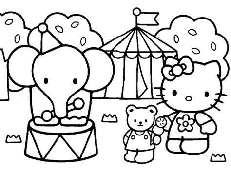 hello kitty zoo coloring pages and print hello kitty friends elephant circus coloring