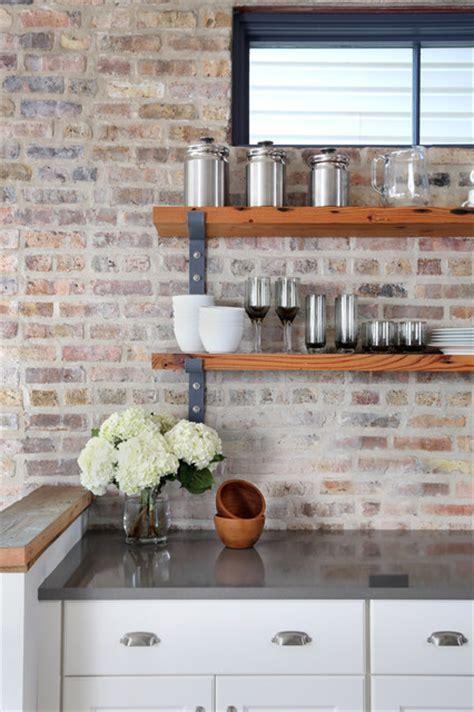 exposed brick kitchen backsplash inspires rustic