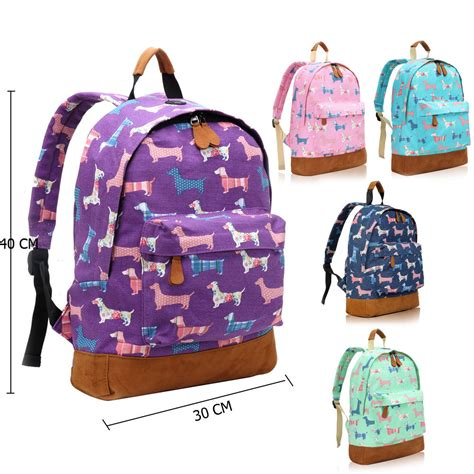 puppy backpack for school sausage poodle canvas backpack rucksack school college bag purse ebay