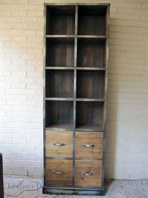 industrial wood metal bookcase houston furniture