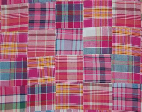 Patchwork Madras Fabric - three chickadees cotton patchwork madras fabric by the