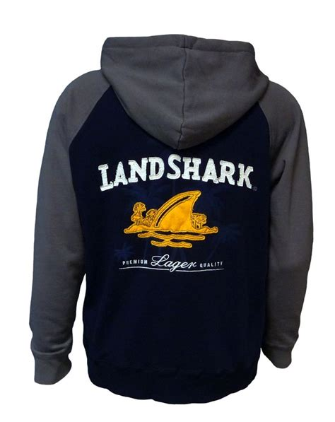 Lettering Fleece Hoodie landshark fleece hoodie navy gray home decor