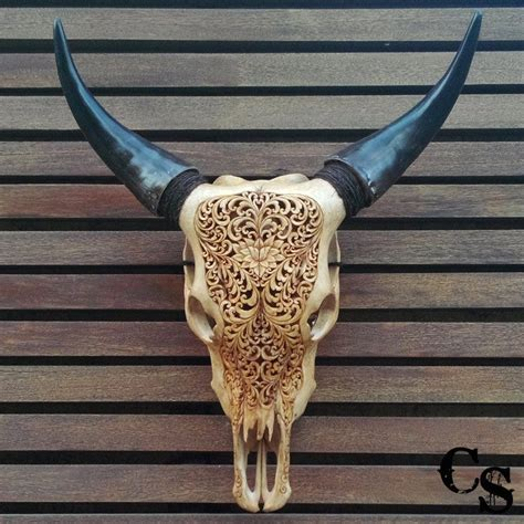 cow skull carved bull cow skull with lotus heart design antique