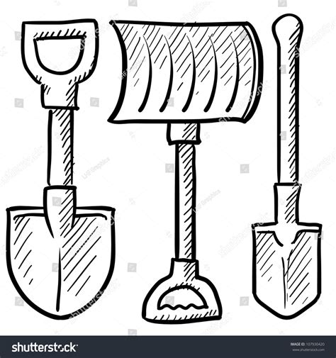 doodle tool doodle style shovel sketch vector format stock vector