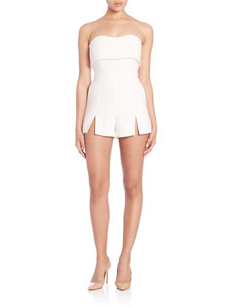 Dress Jumpsuit Wanita Kia Jumpsuit kia strapless jumpsuit in white lyst