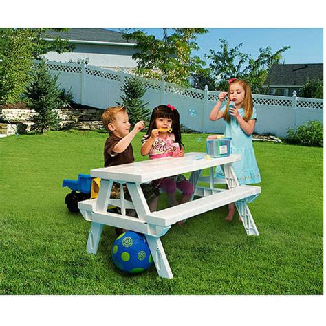 childrens folding picnic table kidnic children s picnic table white walmart com