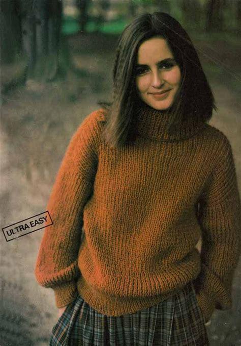 easy knit turtleneck sweater pattern items similar to 1980s vintage knitting pattern women s