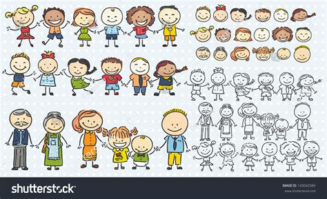 doodle family children family doodles vector set stock vector 143042584