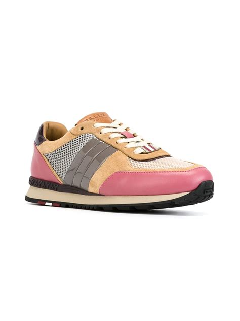 bally sneakers sale bally lace up sneakers in beige pink purple lyst