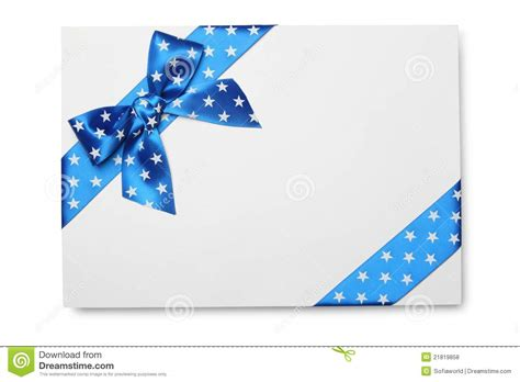 Blank Card With Blue Ribbon Bow Royalty Free Stock Photos Image 21819858 Blank Invitation Cards Templates Blue