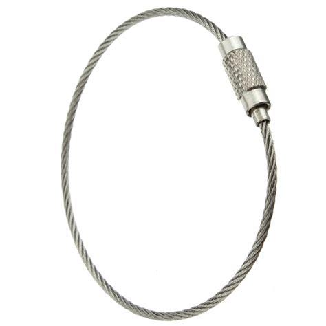 Twist Lock Key Ring - stainless steel wire keychain cable key ring twist barrel