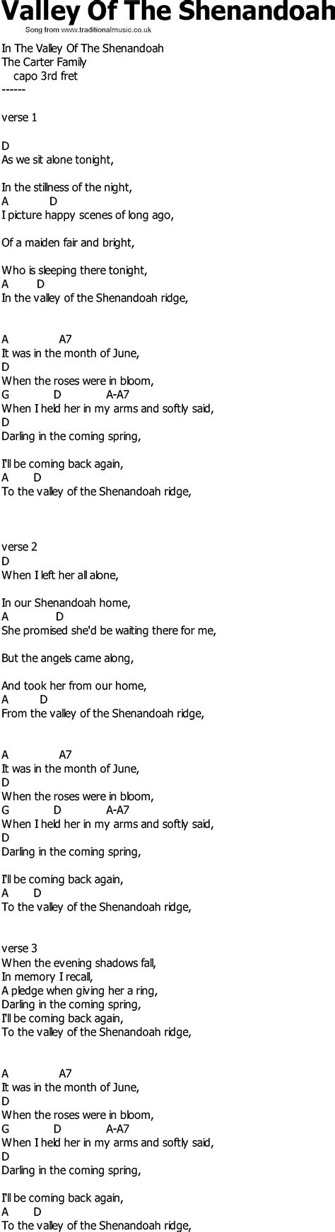 song of velly country song lyrics with chords valley of the shenandoah