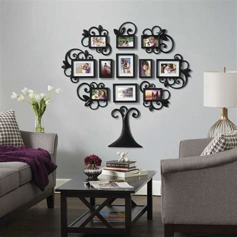 black art home decor family tree collage photo picture frame set black home