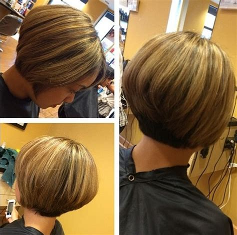stacked cut hairstyle for older women chic short haircut for women the stacked bob cut