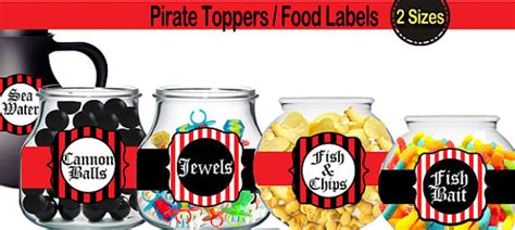 Princess Wall Art Stickers pirate food labels dessert tags pirate party instant