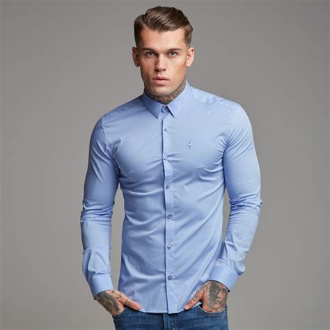 Cartexblanche Jumper Lightblue Limited sons slim stretch classic light blue blue embroidery