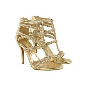 Gold Strappy High Heels Qu Heel