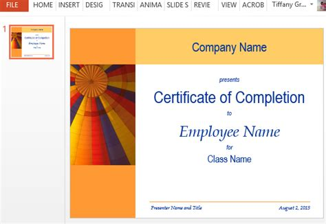 certificate of completion template powerpoint certificate for completion template for powerpoint