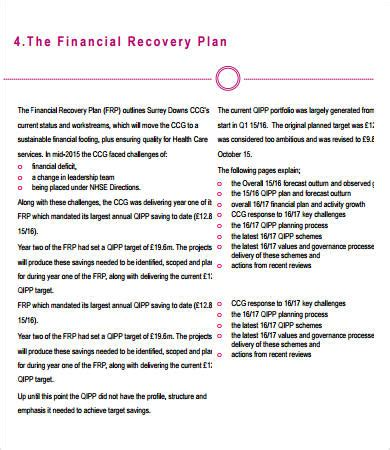 Financial Plan Template 9 Free Pdf Word Documents Download Free Premium Templates Sales Recovery Plan Template