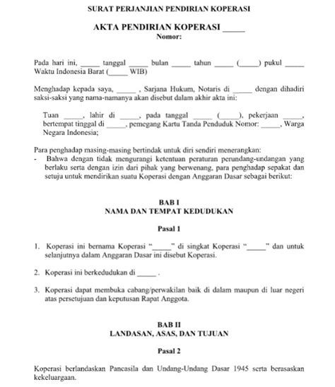 contoh surat perjanjian pendirian koperasi yang baik dan