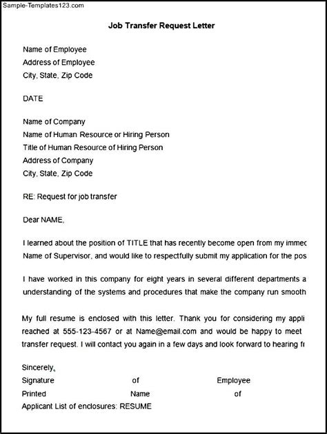 Letter For Work Transfer Transfer Request Letter Template Sle Templates