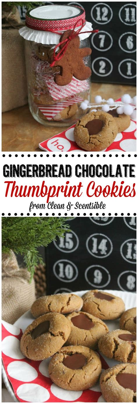 gingerbread chocolate thumbprint cookies clean and