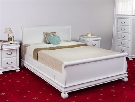 White Wooden Sleigh Bed Sweet Dreams 6ft Kingsize White Wooden Sleigh Bed Frame With Drawers By Sweet Dreams