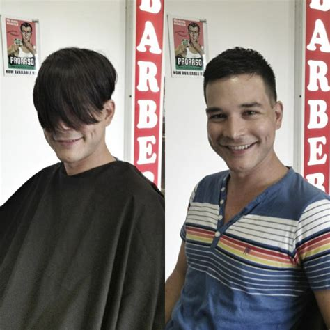 guy haircuts before and after men s haircut before and after long to short big