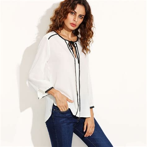Tasel Blouse 1 tassel blouse and white tie neck contrast lace trim blouse in blouses shirts from