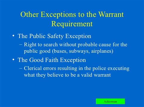Exceptions To A Search Warrant Chapter 6 Ackerman