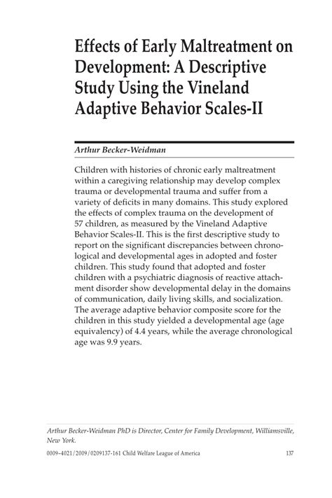 vineland adaptive behavior scales sle report effects of early maltreatment on pdf available