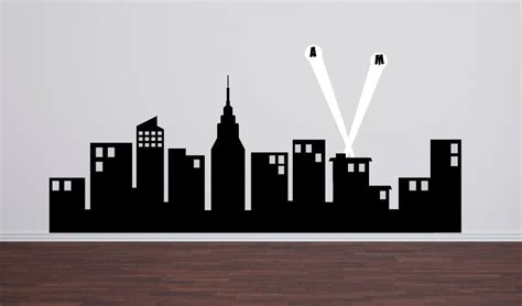 super hero city skyline wall decal 60 quot wide