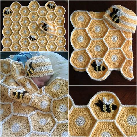 Handmade Blanket Ideas - diy handmade sweet as honey crochet baby blanket and hat set