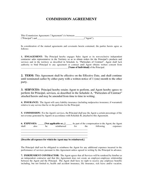 commission agreement template sle commission agreement template ichwobbledich