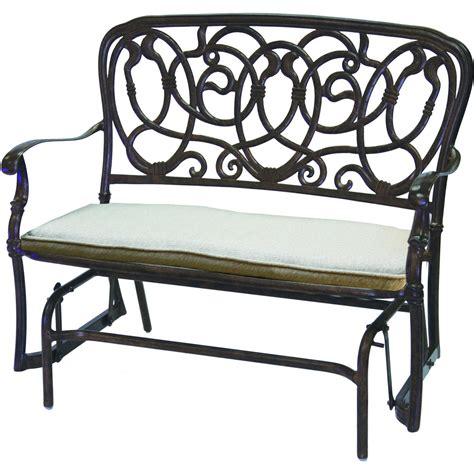 patio glider bench darlee florence cast aluminum patio bench glider antique