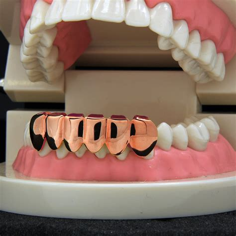 rose gold plated  tooth bottom grillz womens