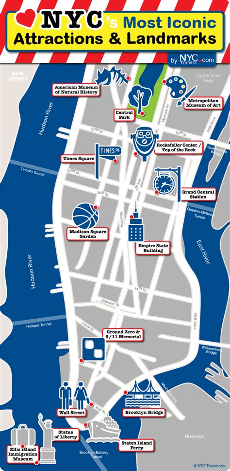 map of new york city landmarks map nyc s most iconic attractions for of new york city