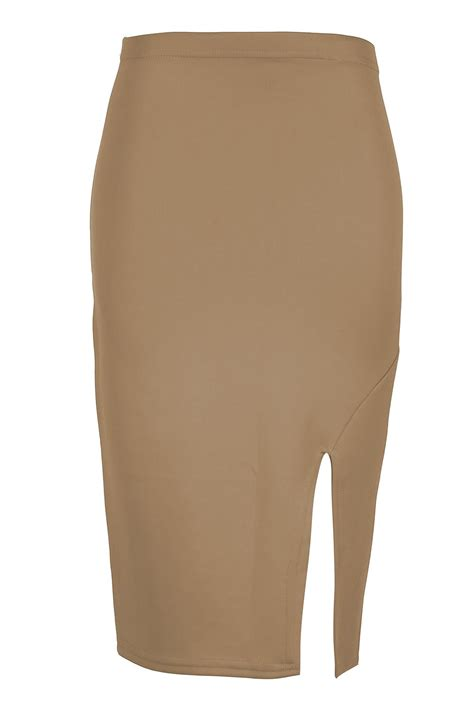 womens side split midi skirt casual pencil slit