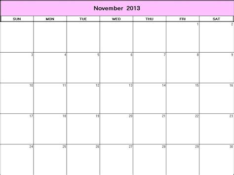 november 2013 printable blank calendar