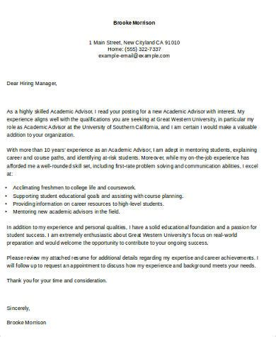 cover letter for academic advisor position sle academic cover letter 7 exles in word pdf